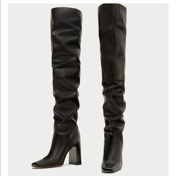 c67502f032b ZARA Genuine Leather Over the Knee Boots. NEW NWT